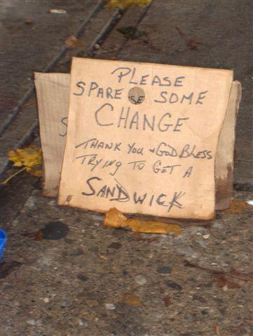 Tony's cardboard sign