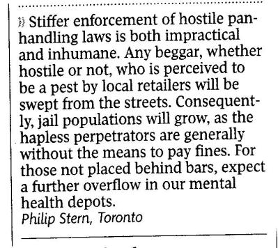Letter to the editor, The Globe, Aug 15 2007