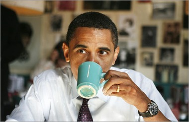 Obama with coffee cup - July 6 2009